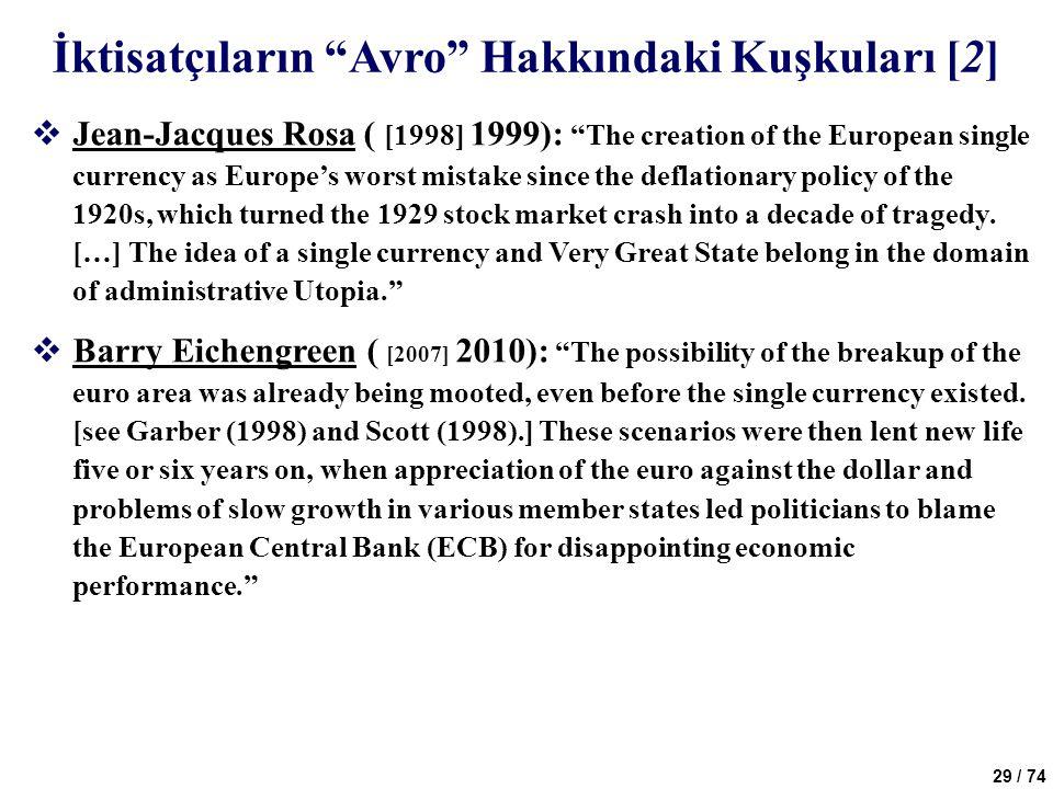 İktisatçıların Avro Hakkındaki Kuşkuları [2]